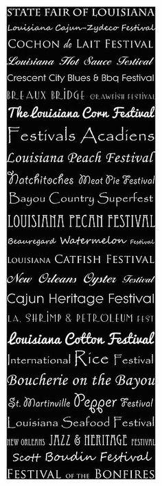Louisiana Festivals Typography Photograph