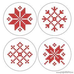 Copos-De-Nieve-Punto-De-Cruz-Cross-Stitch-Hama-Beads-Snowflakes-Christmas Beading - Until Dress - Diy Crafts Cross Stitch Geometric, Modern Cross Stitch Patterns, Cross Stitch Designs, Cross Stitching, Cross Stitch Embroidery, Beading Patterns, Embroidery Patterns, Hama Beads, Christmas Embroidery