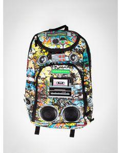 Blue and Green Graffiti Audio Backpack