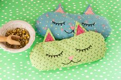 DIY: 'Cat Nap' Eye Pillows + Free Sewing Pattern #craft #herbal