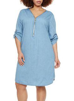 Plus Size Denim Shirt Dress with Zipper Neckline - 8473051062710