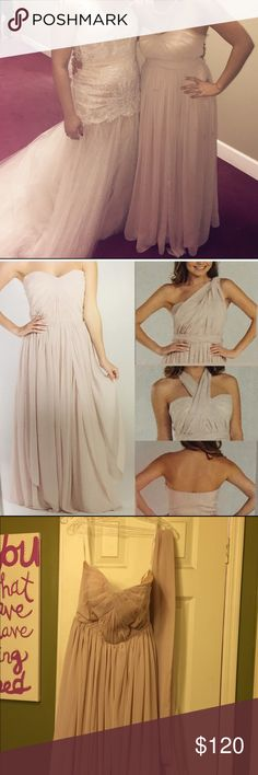 Beige Chiffon Gown Convertible chiffon bridesmaids gown, only worn once in perfect condition, it has been altered in length i am 5'3 so it was altered to fit my height without heels, it is convertible so there are so many way you can wear this gown! The size one the dress is a medium, but my normal dress size is a size 6! Dresses Strapless