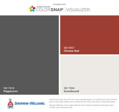 I found these colors with ColorSnap® Visualizer for iPhone by Sherwin-Williams: Peppercorn (SW Chinese Red (SW Snowbound (SW Interior Paint Colors For Living Room, Exterior Paint Colors For House, Paint Colors For Home, Exterior Colors, Paint Color App, Door Paint Colors, Kitchen Paint Colors, Red Paint, Red Door House