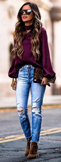 incredible spring outfit idea blouse rips bag heels