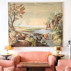@tpper Wes Anderson Style, Pink Sofa, Interior Inspiration, Wall Murals, Beautiful Places, Photo And Video, Painting, Instagram, Florence Italy