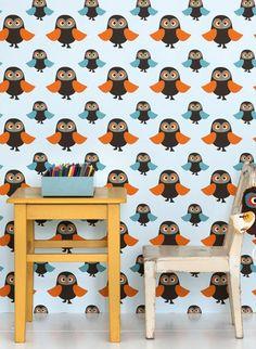 Eulenmotive für's Kinderzimmer: Tapete Owls von Ferm Living #skandinavisch #design