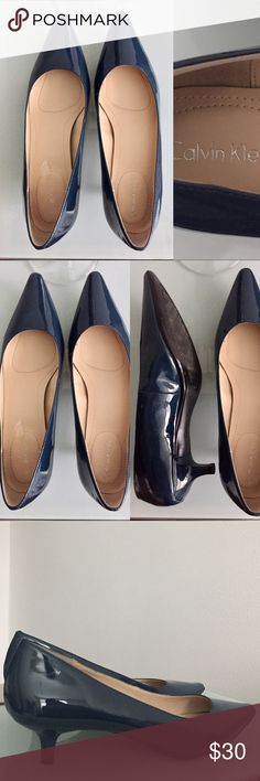 Calvin Klein ⚡️Almost New⚡️Women's Shoes Worn only once! ⚡️Looks brand new⚡️Pointed toe pumps 👠 with 1 inches of heel. Comes with a smooth and shiny finish. Color is darkish blue. Size : 8. Comes by itself, no box. Looking for a new owner. ✔️Reasonable offers accepted ✔️All listed products are authentic. Calvin Klein Shoes Heels