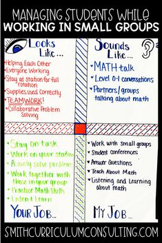 Managing students while you are working in small groups is one of the biggest struggles teachers have with implementing Math workshop and Guided Math. It doesn't have to be a struggle when you set clear expectations from the get go! Maths Guidés, Teaching Math, Math Games, Word Games, Middle School Classroom, Math Classroom, Classroom Helpers, Classroom Design, Classroom Decor