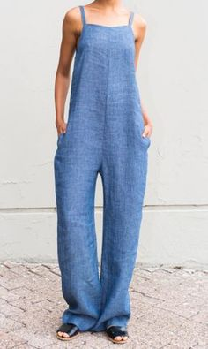 & Jumpsuit with adjustable straps and side seam pockets & Linen Cotton & Fabric made in Italy & Dry-clean Only & Made in U. Cool Outfits, Casual Outfits, Summer Outfits, Fashion Outfits, Womens Fashion, Creation Couture, Denim Jumpsuit, Weekend Wear, Mode Inspiration