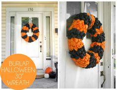 Grosgrain: DIY Large Burlap Halloween Wreath and Form