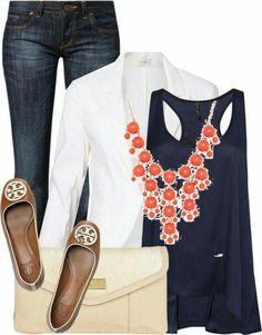 Marino, blanco y Naranja