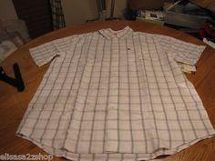 Men's Quiksilver short sleeve NEW large L white button up shirt wagon wheel surf