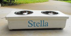 Raised Dog or Cat Bowl  Personalized Stand by TurquoiseWoodWorks