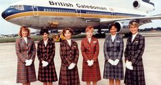 """Flight Attendants of British Caledonian. I loved the TV ads with """" I wish they all could be Caledonian Girls """" on the Beach Boys tune of California girls fame Airline Jobs, Airline Uniforms, Trolley Dolly, Main Image, Gatwick Airport, International Airlines, Commercial Aircraft, British Airways, Hair Color For Black Hair"""