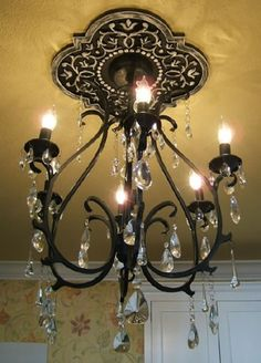 hand painted ceiling medallion & gorgeous black chandelier