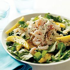Crab, Shrimp, and Mango Salad with Yuzu Vinaigrette - Dungeness Crab Recipes - Sunset Citrus Recipes, Wine Recipes, Seafood Recipes, Asian Recipes, Cooking Recipes, Healthy Recipes, Japanese Recipes, Healthy Foods, Uk Recipes