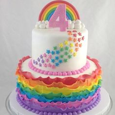 Rainbow Ruffle Cake with Rainbow Sprinkling Stars. Order yours Now from DessertTables.ie, Dublin. 4th Birthday Cakes, Rainbow Birthday Party, Birthday Ideas, Pretty Cakes, Cute Cakes, My Little Pony Cake, Pecan Cake, Star Cakes, Ruffle Cake