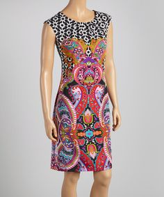 Take a look at this Fuchsia & Purple Paisley Sheath Dress - Women by Voir Voir on #zulily today!
