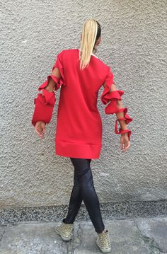 NEW SS/15 Oversized Neoprene Loose  Large Red Blouse by SSDfashion