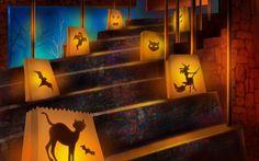 Gruselige Halloween Deko - Papier Laterne mit Katzen-Silhouetten
