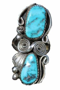 Vintage Navajo Sterling Silver Kingman Mine Turquoise Ring Paulene McCray 7 1 2 | eBay