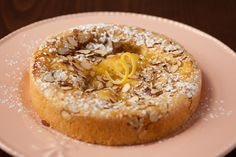 Tuscan Lemon Almond Torte | Beautiful torte with lemon curd baked right in. Uses almond flour and can be made gluten free