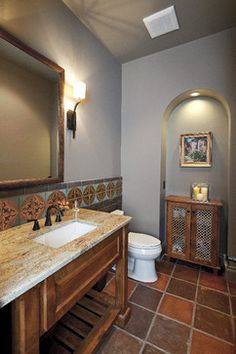 Venetian Plaster Powder Bathroom - Mediterranean - Powder Room - houston - by An. - Venetian Plaster Powder Bathroom - Mediterranean - Powder Room - houston - by Anything But Plain, Inc. Galloway, Taupe Kitchen, Spanish Style Bathrooms, Houston, Terracotta Floor, Apartment Makeover, Home Upgrades, Dream Home Design, Shower Remodel