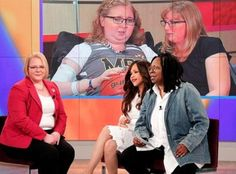 "Lauren Hill and her mother, Lisa Hill, appear on ""The View"" by satellite feed with co-hosts Whoopi Goldberg and Rosie Perez and Brooke Desserich of The Cure Starts Now."