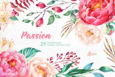 Clip Art Wedding Invitation Passion. Flowers Collection by OctopusArtis on Creative Market