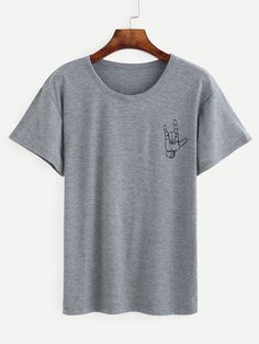 Shop Heather Grey Love Gesture Print T-shirt online. SheIn offers Heather Grey Love Gesture Print T-shirt & more to fit your fashionable needs.