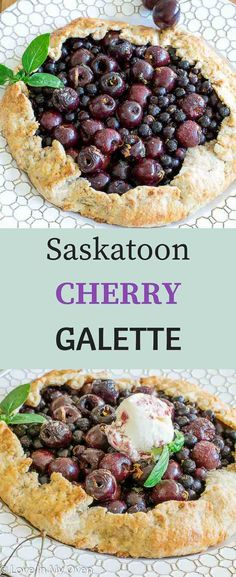 Sweet saskatoons and fresh cherries are combined with fresh basil and lemon zest in this deliciously lazy shortcut on pie!  via @loveinmyoven
