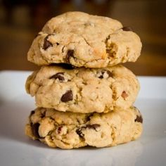 Triple threat cookies: chocolate, peanut butter, and oats