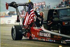 Lori Johns - beautiful blonde top fuel NHRA drag racing queen