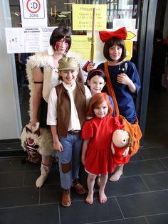 miyazaki characters from back left to right Princess Mononoke, Kiki, Pazu, Sheeta, Ponyp
