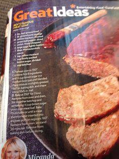Miranda Lambert's Meatloaf Recipe
