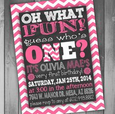 First Birthday Chalkboard Girl Birthday Invitation by CLaceyDesign