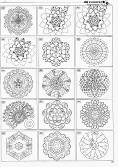 Delicatessen in gehaakte Gabriela: Patterns redenen A one stop post for hundreds of crochet motifs. Put them in a binder. Attach them to create a beautiful freeform crochet garment, or curtains, or tablecloth. ONLY points: Circles crochet Hundreds of fre Crochet Diy, Crochet Motifs, Crochet Diagram, Crochet Stitches Patterns, Crochet Chart, Crochet Squares, Thread Crochet, Irish Crochet, Crochet Doilies