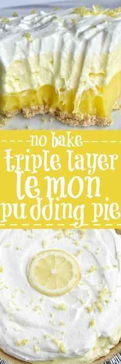This easy & simple no bake triple layer lemon pudding pie is the perfect summertime dessert! You only need 5 ingredients for a sweet and creamy lemon pudding pie that is no bake and so simple to make. Desserts {no bake} Triple Layer Lemon Pudding Pie 13 Desserts, Easy Lemon Desserts, Baking Desserts, No Bake Summer Desserts, Lemon Lush Dessert, Potluck Desserts, Holiday Desserts, Layered Pudding Desserts, Sugar Free No Bake Desserts