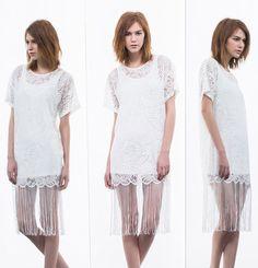 lace shift dress with fringe hem