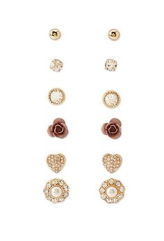 Faux Gem Flower Stud Set | Forever 21 - 1000077453
