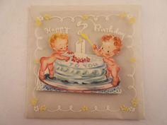 Vintage Antique Birthday Card Paper Ephemera Sugar N Spice Cake Vellum Celluloid