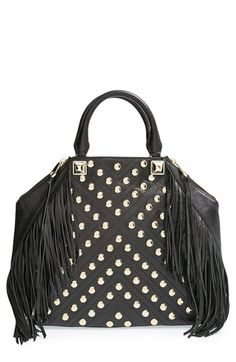 Rebecca Minkoff 'Rylan' Tote at Nordstrom.com. The ultimate in rock-'n'-roll chic, the Rylan tote features a sharp, geometric silhouette highlighted by signature, supersized pyramid studs, swingy fringe and quilted leather detailing set off by hammered studs. Dual rolled top handles finish this fresh-from-the-runway look.