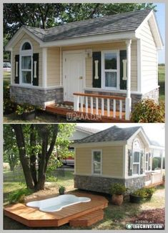I'm thinking make it into my space outside but This dog house is amazing. The shutters with the dog bones, its own door. Godbold Godbold Godbold Godbold Valdez Sierra - wouldn't put it passed you. Diy Pour Chien, Future House, My House, Big Dog House, Puppy House, Build A Dog House, Cool Dog Houses, Pet Houses, Amazing Dog Houses