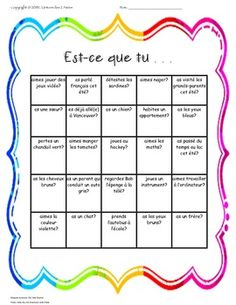 "This activity is a useful ice breaker for the beginning of the school year.  It encourages students to get to know one another while practicing their French speaking skills.  There are two versions of the game.  One that starts with the phrase. ""Trouve quelqu'un qui . . ."" and another that starts with ""Est-ce que tu  . . .""."