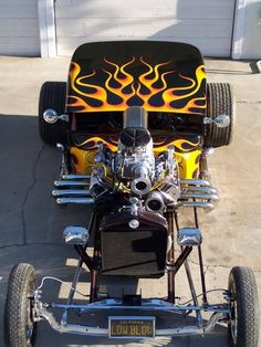 Low Blow Black and Flamed Hot Rod