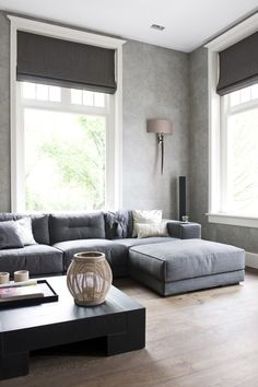 living room in grey with soft roman shades