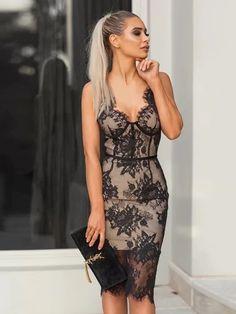 9e9334013 Vestido de Renda Transparente - Ref.1412. Awesome Spaghetti Strap V-Neck Sexy  Night Out Club Dress Women Vestidos