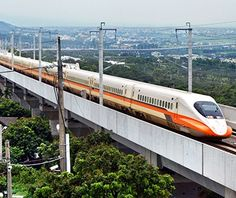 THSR 700T, Taiwan - The aerodynamically optimized trains of Taiwan High Speed Rail (THSR) rocket down the island's west coast between the capital, Taipei, and the industrial city of Kaohsiung in 90 to 100 minutes.