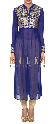 Buy this Blue kurti enhanced in thread and sequin bodice only on Kalki
