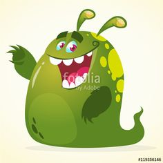 Funny cartoon green monster. Vector blob monster